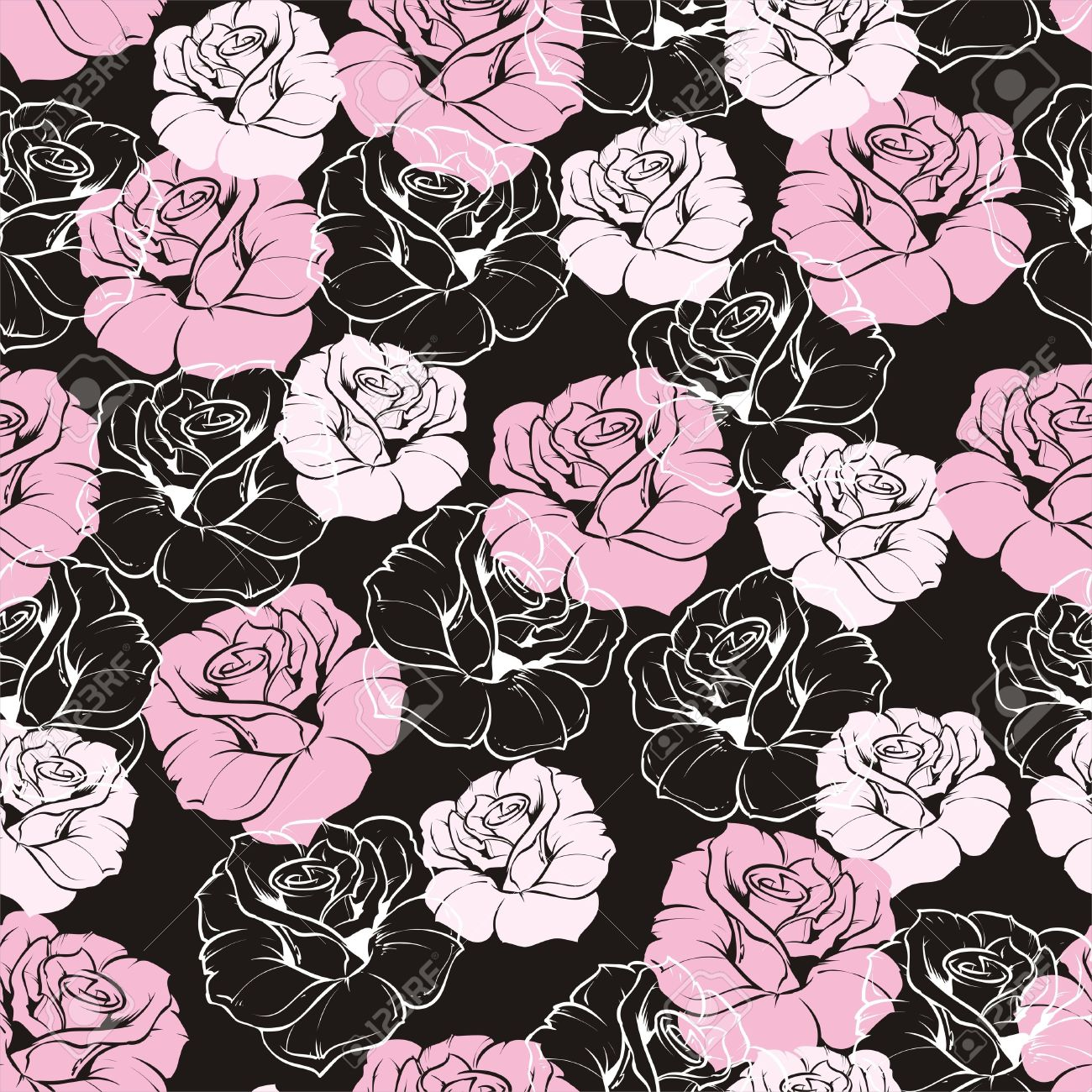 18630181 Seamless Floral Pattern With Pink And White Roses On Black